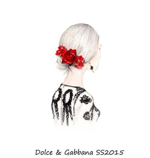 时尚插画师新杜嘉班纳2015夏季女装系列手稿